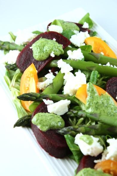 Salāti ar sparģeļiem un sarkanajām bietēm - 05